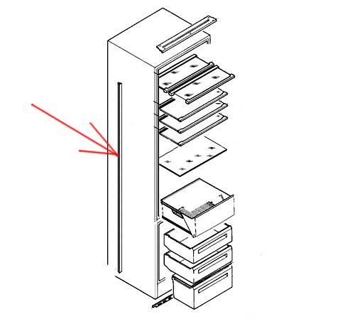 2231093499 - Уплотнитель боковой L=1860mm к холодильникам AEG, Electrolux, Ikea