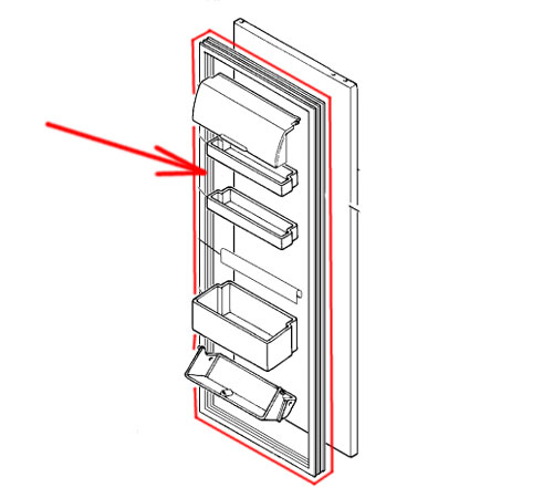 2248016764 - Уплотнитель двери холодильной камеры к холодильникам Electrolux, AEG, Zanussi