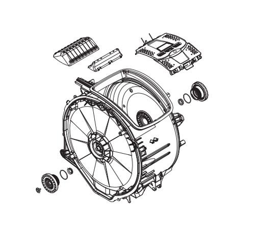 4055347936 - Бак в сборе с барабаном к стиральным машинам Electrolux и AEG