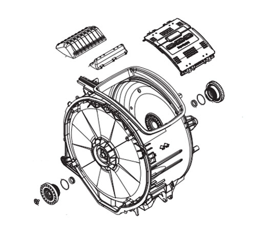 4055403911 - Бак в сборе с барабаном к стиральным машинам AEG и Electrolux