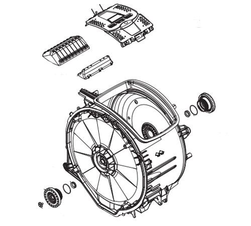 4055407995 - Бак в сборе с барабаном и подшипниками к стиральным машинам Electrolux и Zanussi